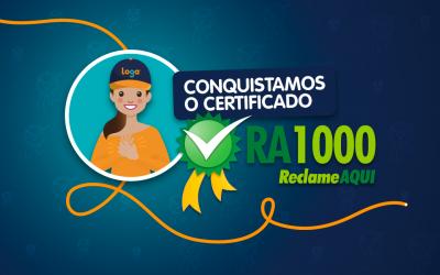 Loga conquista certificado RA 1000 do ReclameAqui